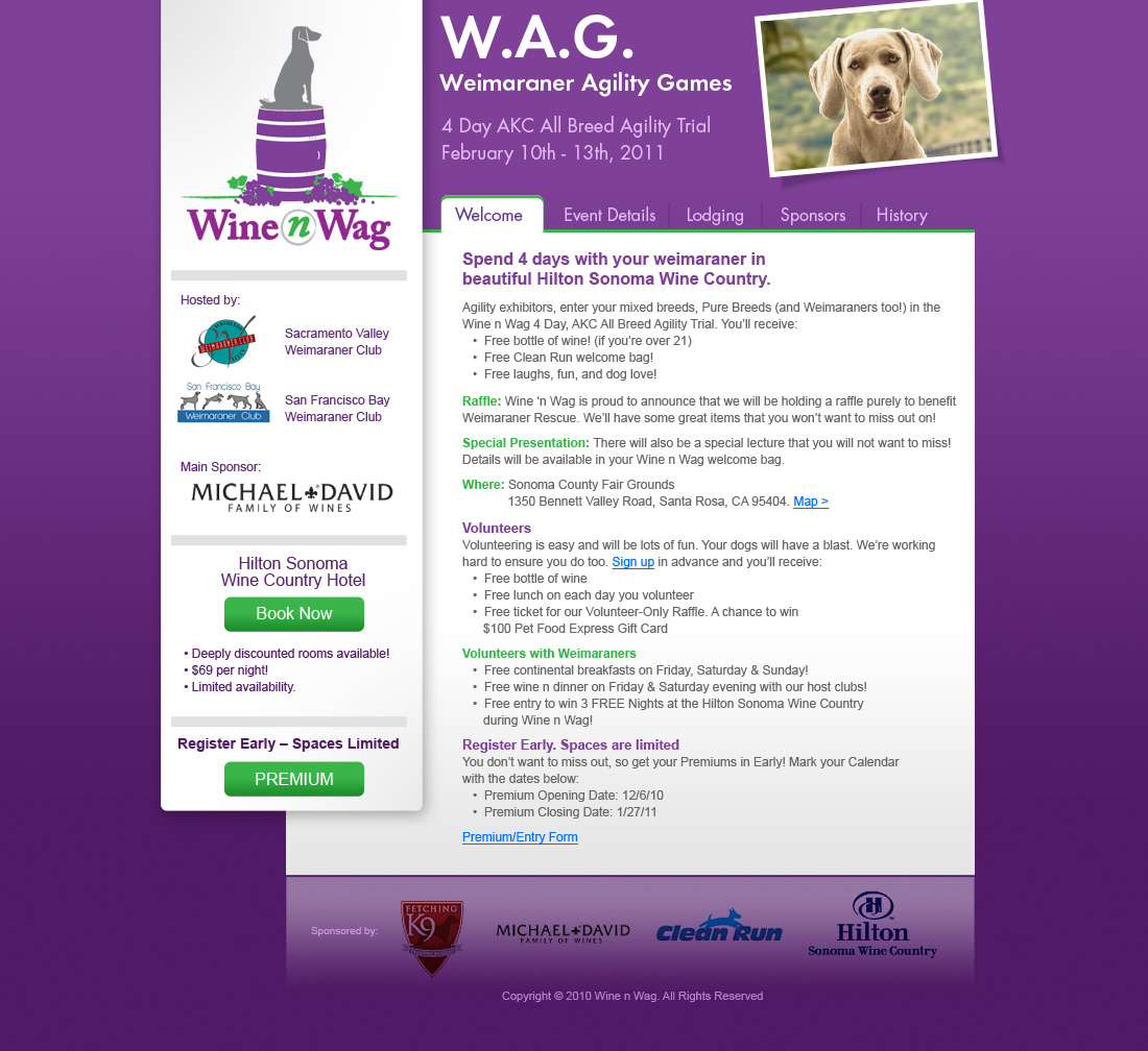 Wine & Wag Event Website