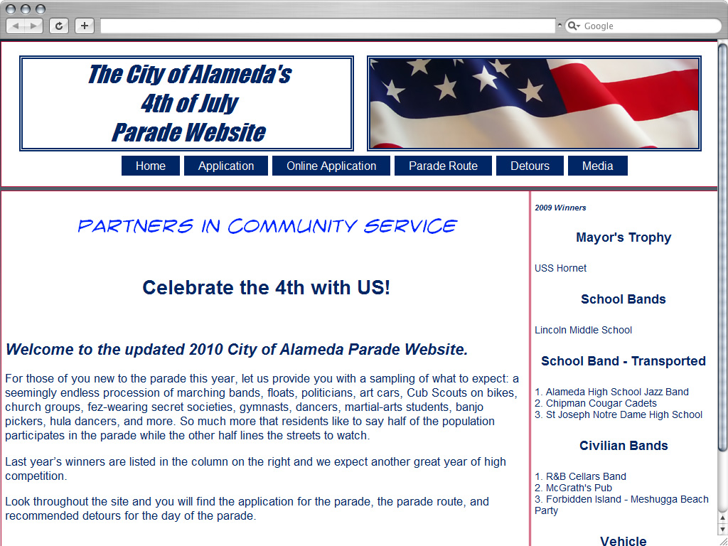 Alameda Parade Website Design Before