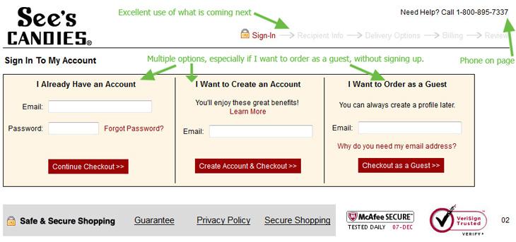 Shopping Cart Checkout Login Example – Smart Design