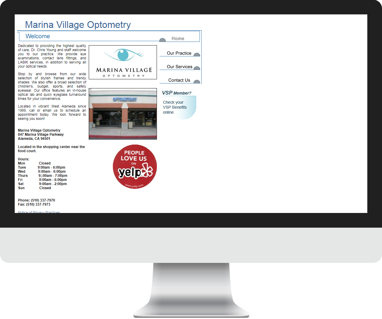 Marina Village Optometry Before Website