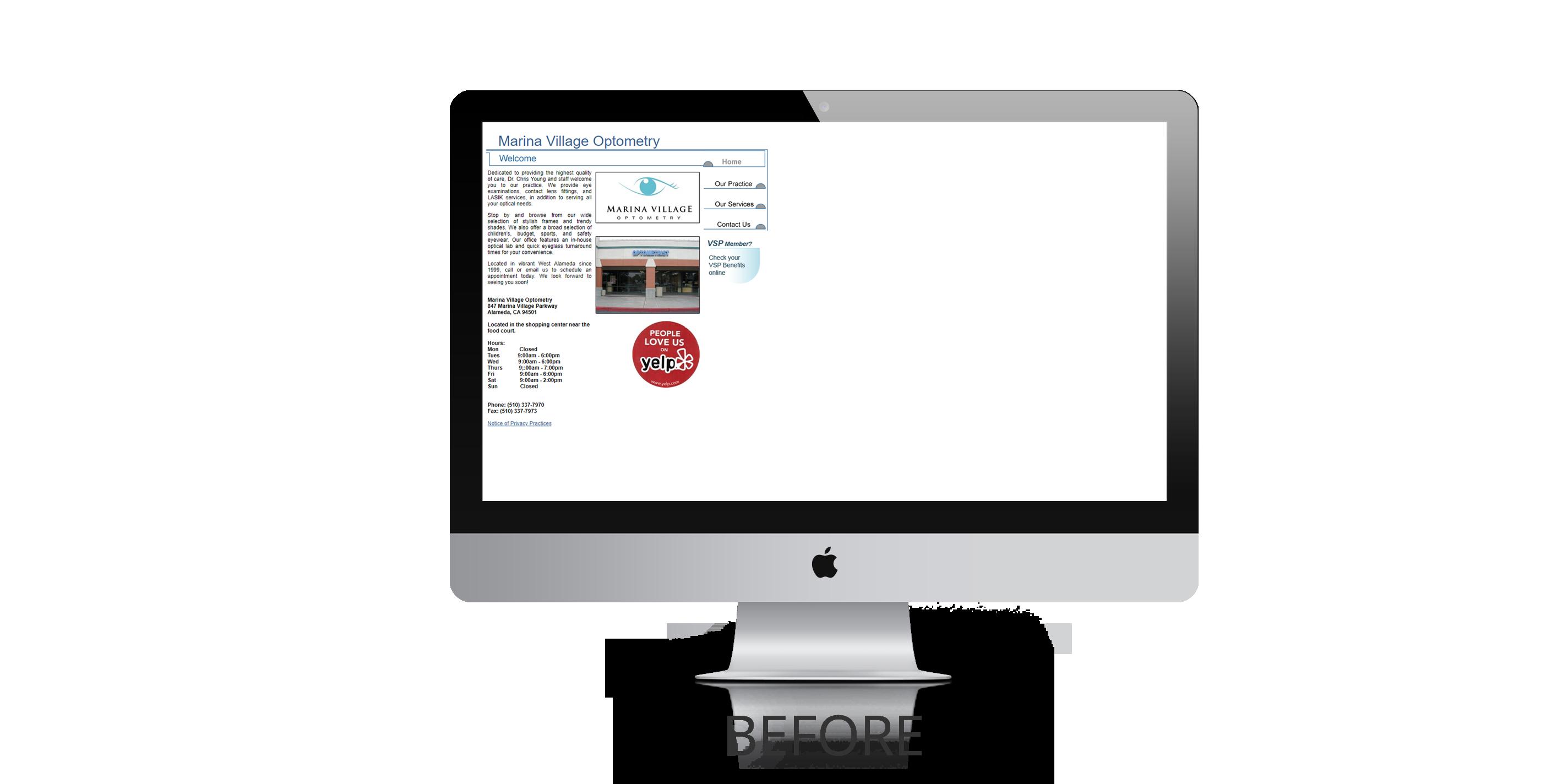 Marina Village Optometry Website Design Before