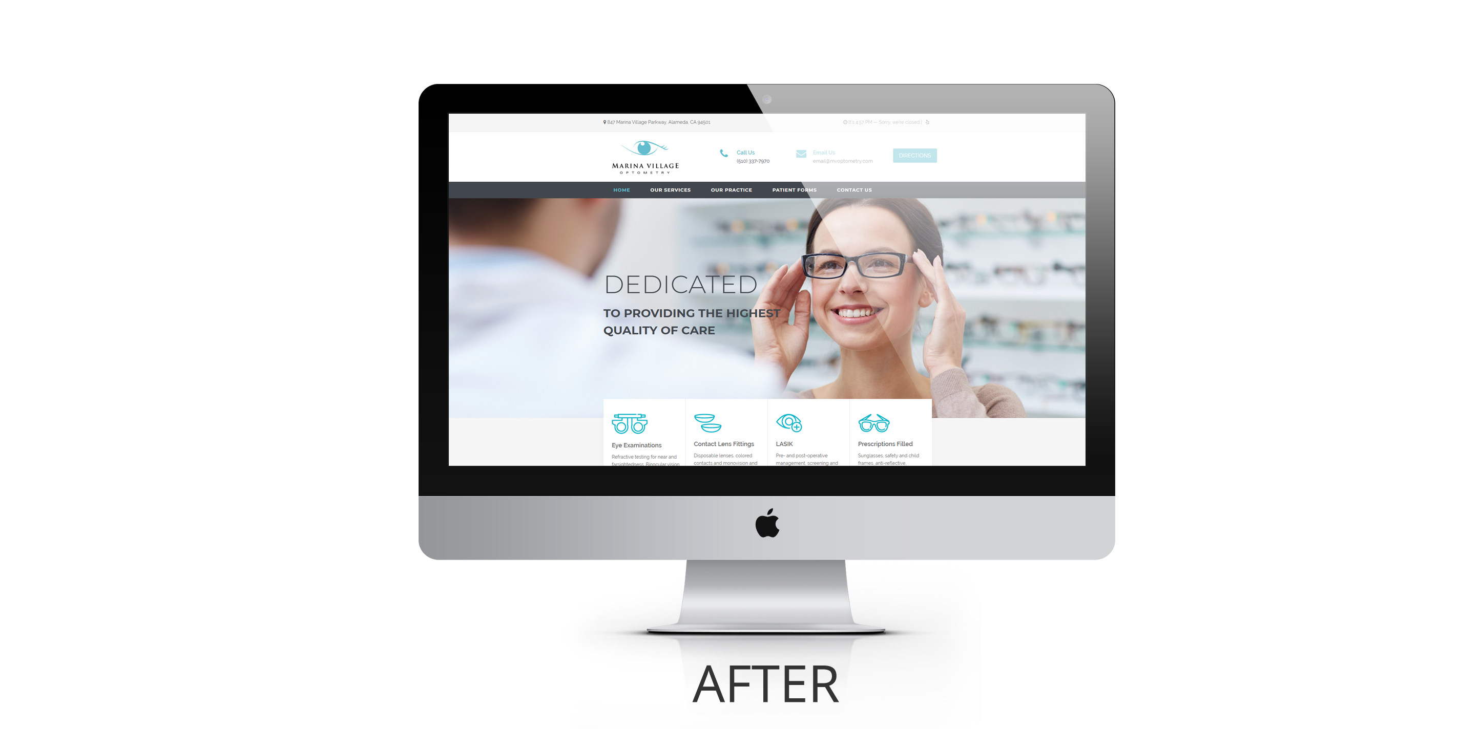 Marina Village Optometry Website Design After