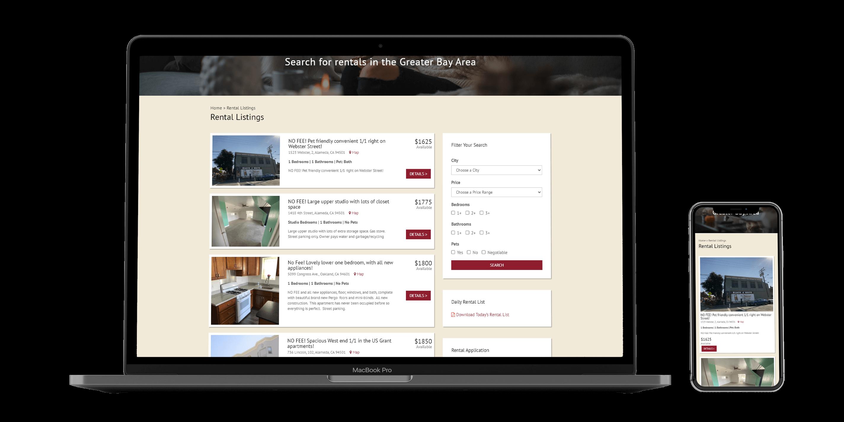 Rental Listings Page